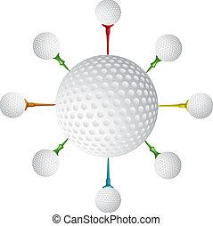palla, tee, vettore, golf, disegno