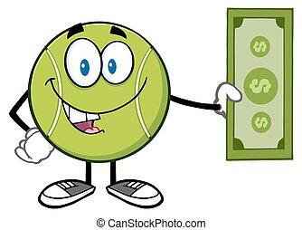 palla tennis, conto dollaro, presa a terra