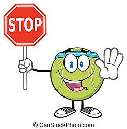 palla tennis, fermata, presa a terra, segno