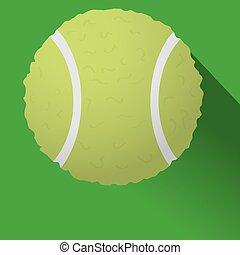 palla, tennis, illustrazione, fondo., vettore, bianco