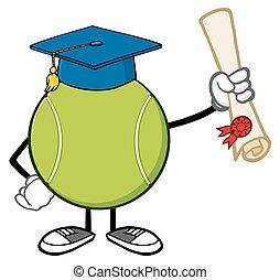 palla tennis, presa a terra, uno, diploma