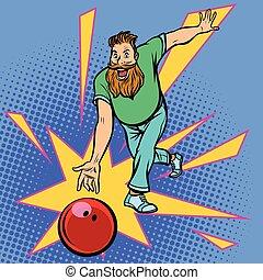 palla, tiri, bowling uomo
