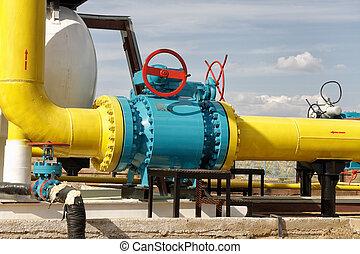 palla, valvola, su, uno, gas, pipeline.