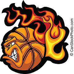 palla, vecto, pallacanestro, faccia, fiammeggiante