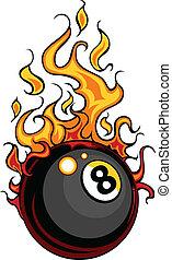 palla, vettore, otto, biliardo, fiammeggiante