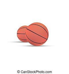 pallacanestro, apparecchiatura, isolato, palla, realistico, vettore, fondo, cesto, sport, icona