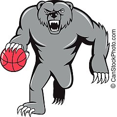 pallacanestro, arrabbiato, isolato, orso, gocciolamento, grigio