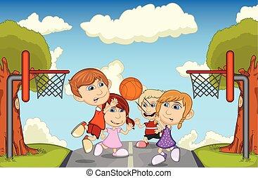 pallacanestro, bambini giocando