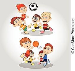 pallacanestro, calcio, bambini giocando