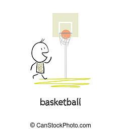 pallacanestro, cartone animato, uomo