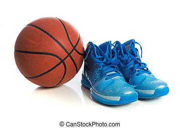 pallacanestro, con, blu, scarpe pallacanestro, bianco