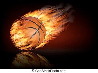 pallacanestro, fiammeggiante, fondo, ball.