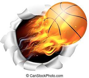pallacanestro, fiammeggiante, palla, fondo, buco, strappo