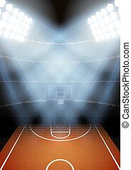 pallacanestro, fondo, vettore, stadio, notte, spotlight.,...