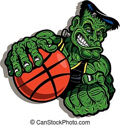 pallacanestro, frankenstein's, mostro, gioco