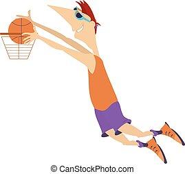 pallacanestro, giochi, isolato, illustrazione, uomo