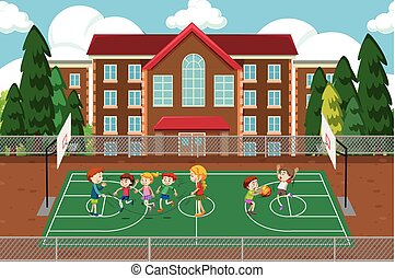 pallacanestro, gioco, scena, bambini