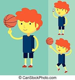 pallacanestro, gioco, uomo, giovane