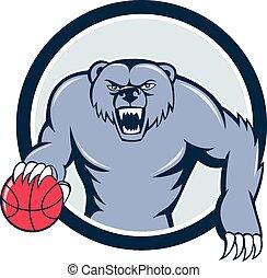 pallacanestro, grizzly, gocciolamento, arrabbiato, cartone animato