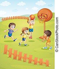 pallacanestro, parco, gioco, bambini
