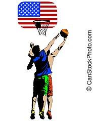 pallacanestro, persone, tre