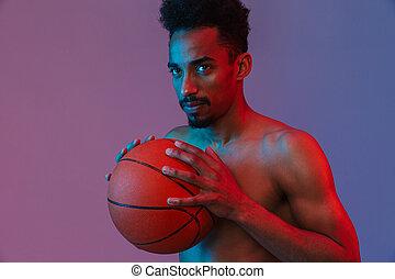 pallacanestro, poising, sportivo, americano, africano, ritratto, shirtless, uomo