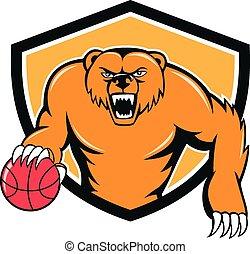 pallacanestro, scudo, gocciolamento, orso, cartone animato, arrabbiato, grigio