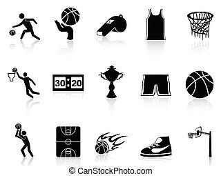 pallacanestro, set, icone
