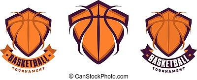 pallacanestro, set, sport, icone