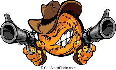 pallacanestro, shootout, cartone animato, cowboy