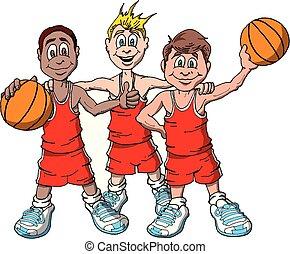 pallacanestro, tre, bambini
