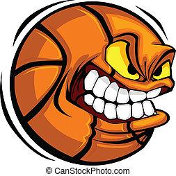 pallacanestro, vettore, cartone animato, palla, faccia