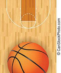 pallacanestro, vettore, corte, legno duro