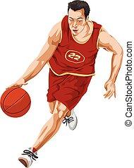 pallacanestro, vettore, player.