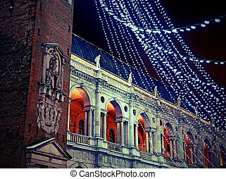 Palladian basilica during a winter night - piazza dei...