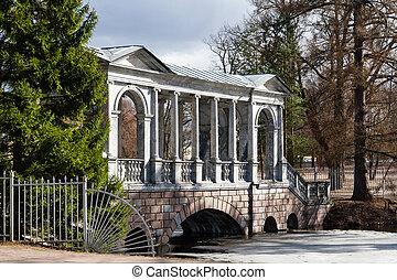 Palladian bridge - Marble Bridge in the park Tsarskoye Selo,...