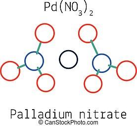 Palladium nitrate PdN2O6 molecule isolated on white