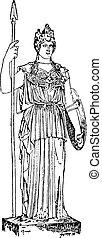 Palladium or Palladion, vintage engraving. - Palladium or...