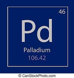 Palladium Pd chemical element icon- vector illustration