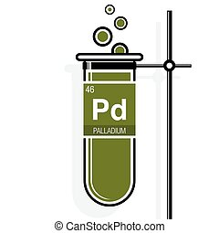 Palladium symbol on label in a green test tube with holder....