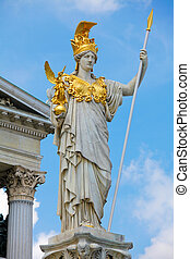 Pallas Athena in Vienna - Statue of Pallas Athena in front...