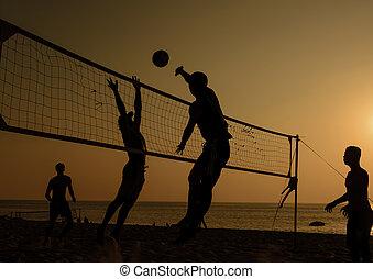 pallavolo spiaggia, silhouette