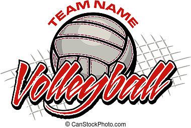 pallavolo, squadra, disegno