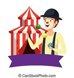 palle, circo, manipolazione, pagliaccio, tenda