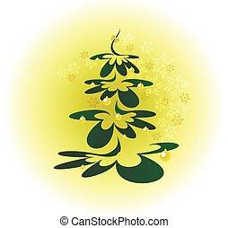 palle, eps10, oro, snowflakes., albero, illustrazione, vettore, fondo, natale