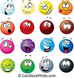 palle, espressioni, colorare, molti