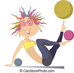 palle, giovane, illustrazione, isolato, donna, esercizi, cartone animato