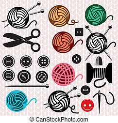 palle, icone, cucito, filato, apparecchiatura, vettore