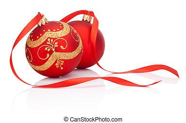 palle, isolato, arco, decorazione, due, fondo, natale bianco, nastro, rosso
