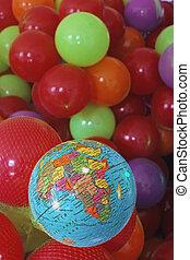 palle, mondo, colorito, india, globo